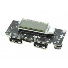 Модуль PowerBank с LCD дисплеем, 2 x USB 5В, 2А