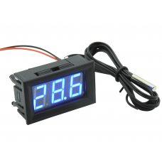 Цифровой термометр -50~110°C, DC 5-12В, с выносным датчиком, синий
