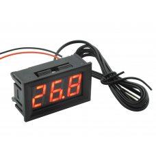 Цифровой термометр -50~110°C, DC 5-12В, с выносным датчиком, красный