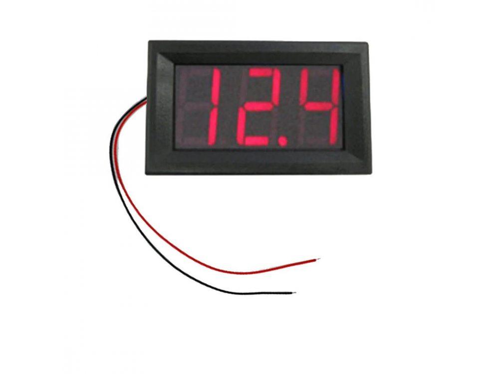 Вольтметр 4,5 - 30В, 0.56 LED, Красный, в корпусе
