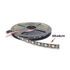 Светодиодная лента WS2812B, RGB, IP30, 60 Светодиодов/м, 5В, 1м, Черная подложка