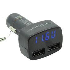 Автомобильное зарядное 4 в 1 - вольтметр, амперметр, термометр (синий дисплей)